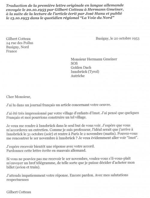 Après avoir rencontré Hermann Gmeiner, Gilbert Cotteau décide de créer un village SOS en France.