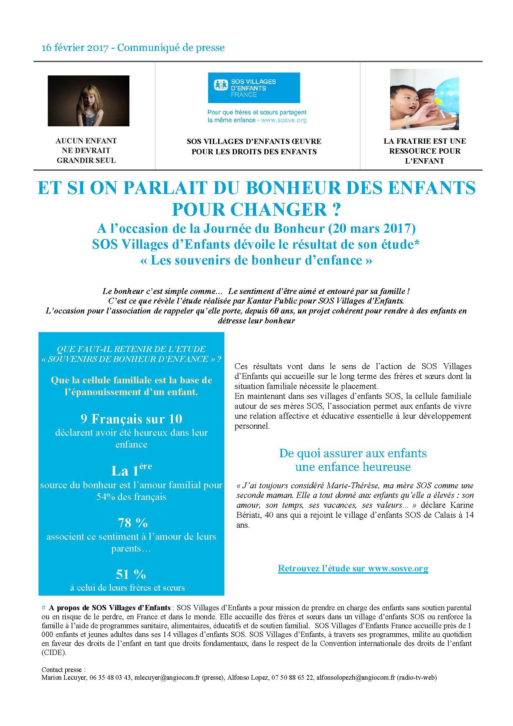 CP journée du bonheur / SOS Villages d'Enfants
